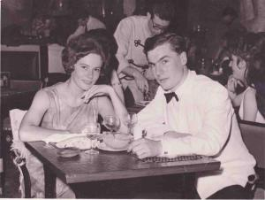 Clive Fiske Harrison, with his then fiancée, now wife, Barbara Gail Horne, at The May Fair Hotel in London during his first year in the City, 1963, after his return from New York
