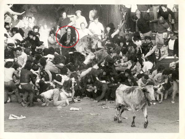 Noel, circled, in the thick of the great pile up at the entrance to the plaza on July 7th, 1975, resulting in one death and 16 seriously injured.