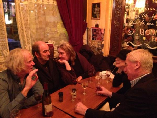 L-R: Larry Belcher, Noel Chandler, Ana Cerón, Nancy Fortier, Clive Fiske Harrison. Los Pipos, Paris, Dec. '13 (Photo: Alexander Fiske-Harrison)