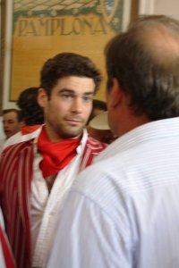 Alexander Fiske-Harrison and Don Antonio Miura, ganadero de toros bravos, at the homage to Noel Chandler, Pamplona 2011