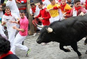 Alexander Fiske-Harrison running with the Torrestrella bulls of Álvaro Domecq - striped jacket - in Pamplona (Photo: Joseba Etxaburu - Reuters)
