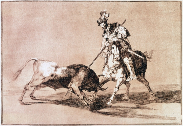 El Cid bullfighting, as described in the Poem of the Cid, composed circa 1140, here depicted by Francisco Goya (Image from Wikipedia)